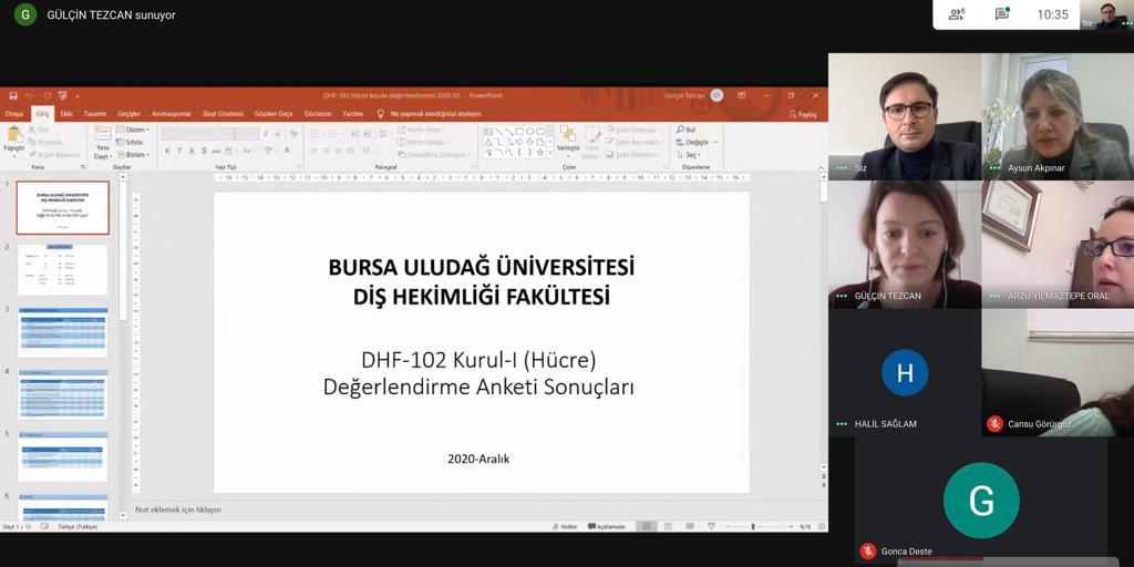 DHF102 HÜCRE KURULU VE KURUL SONU SINAVI DEĞERLENDİRMESİ