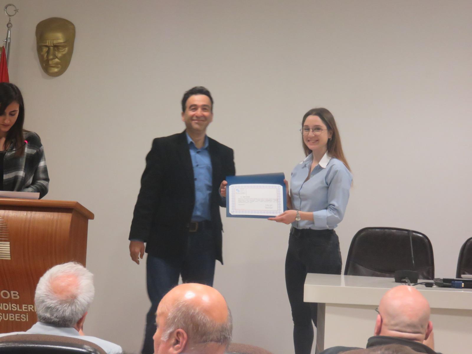EMO 15.Özgün Proje Yarışmasında İkincilik Ödülü