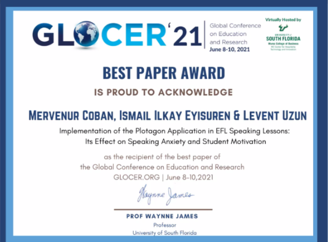 GLOCER 21 En İyi Çalışma Ödülü
