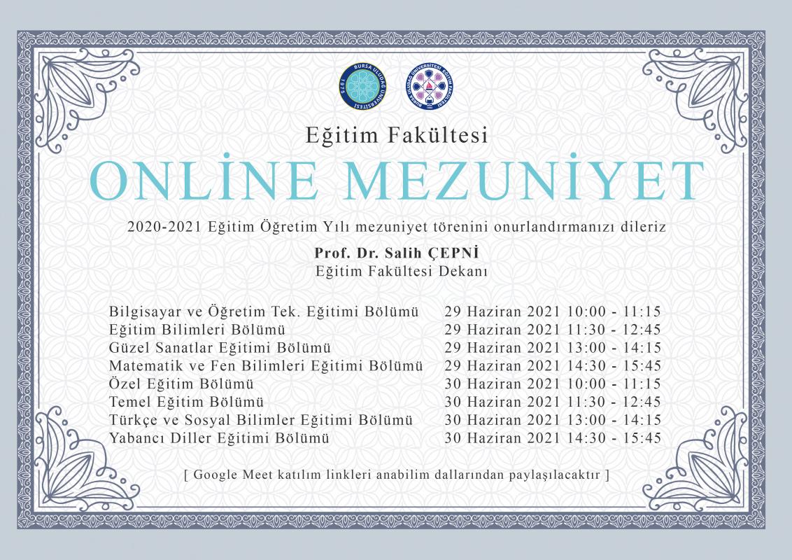 Eğitim Fakültesi Online Mezuniyet Töreni