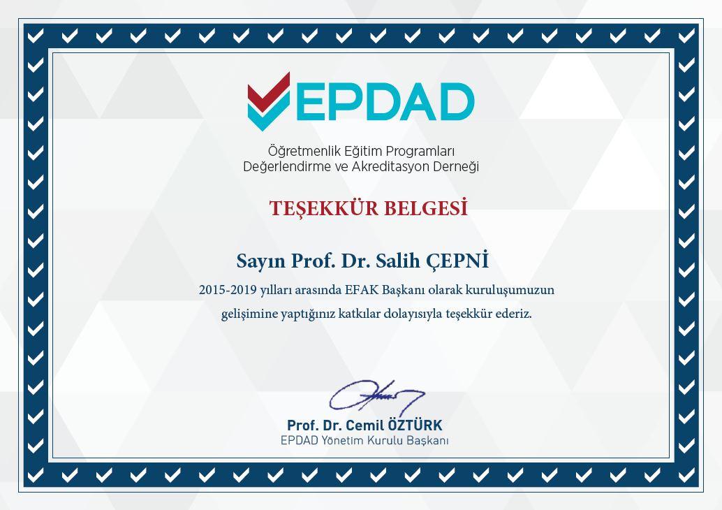 EPDAD'tan Dekanımız Prof. Dr. Salih ÇEPNİ'ye Teşekkür