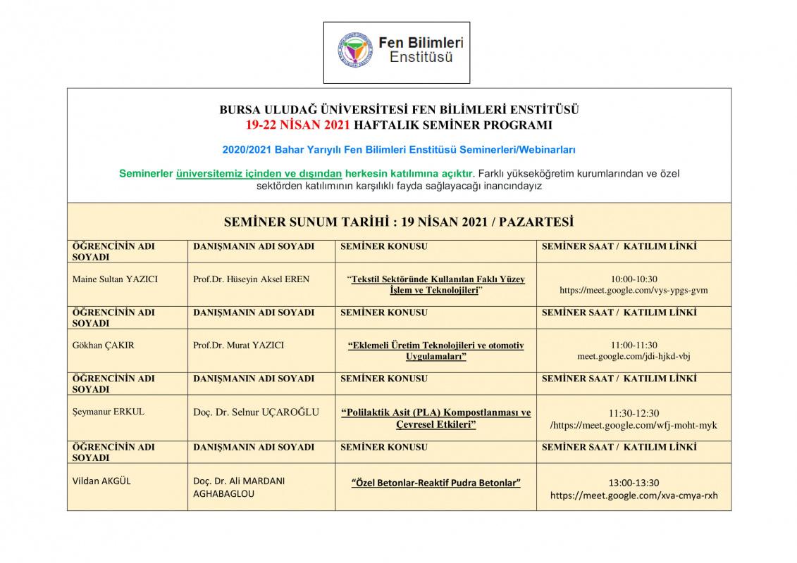 SEMİNER DERSİ 19-22 NİSAN HAFTALIK PROGRAMI