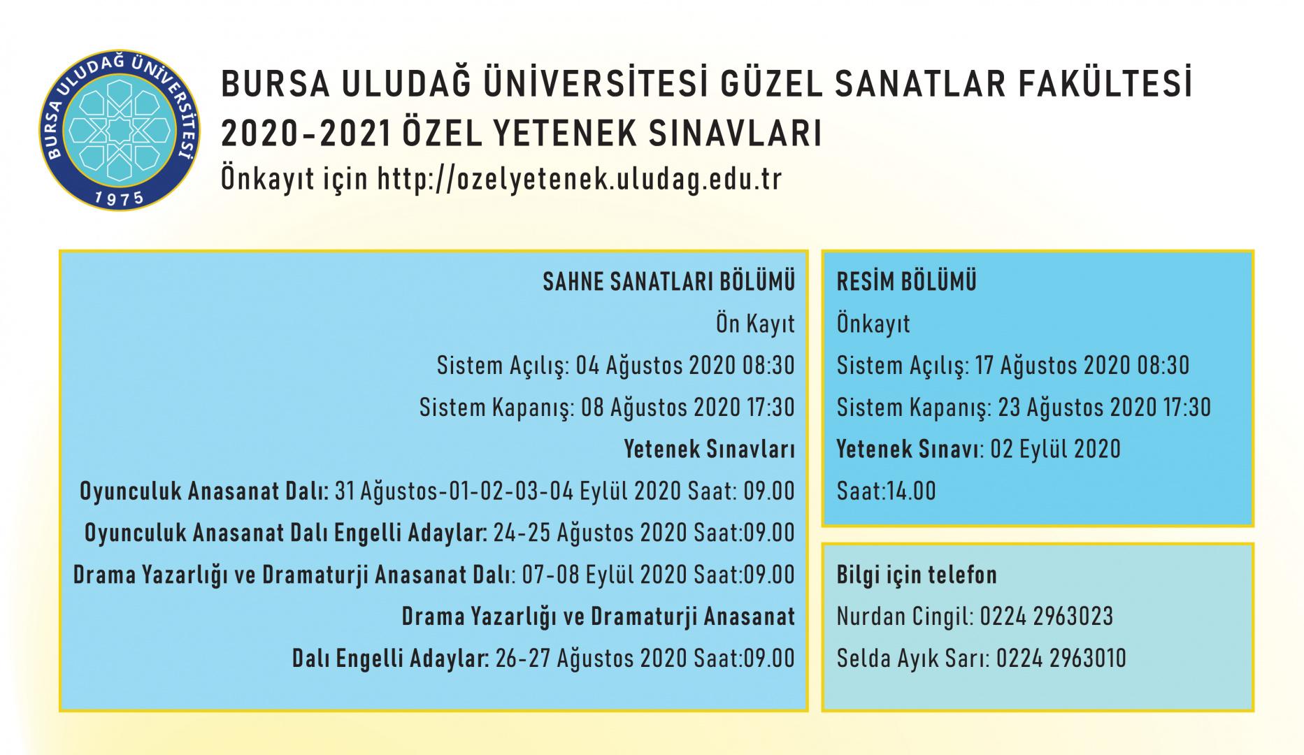 2020 - 2021 Özel Yetenek Sınavları