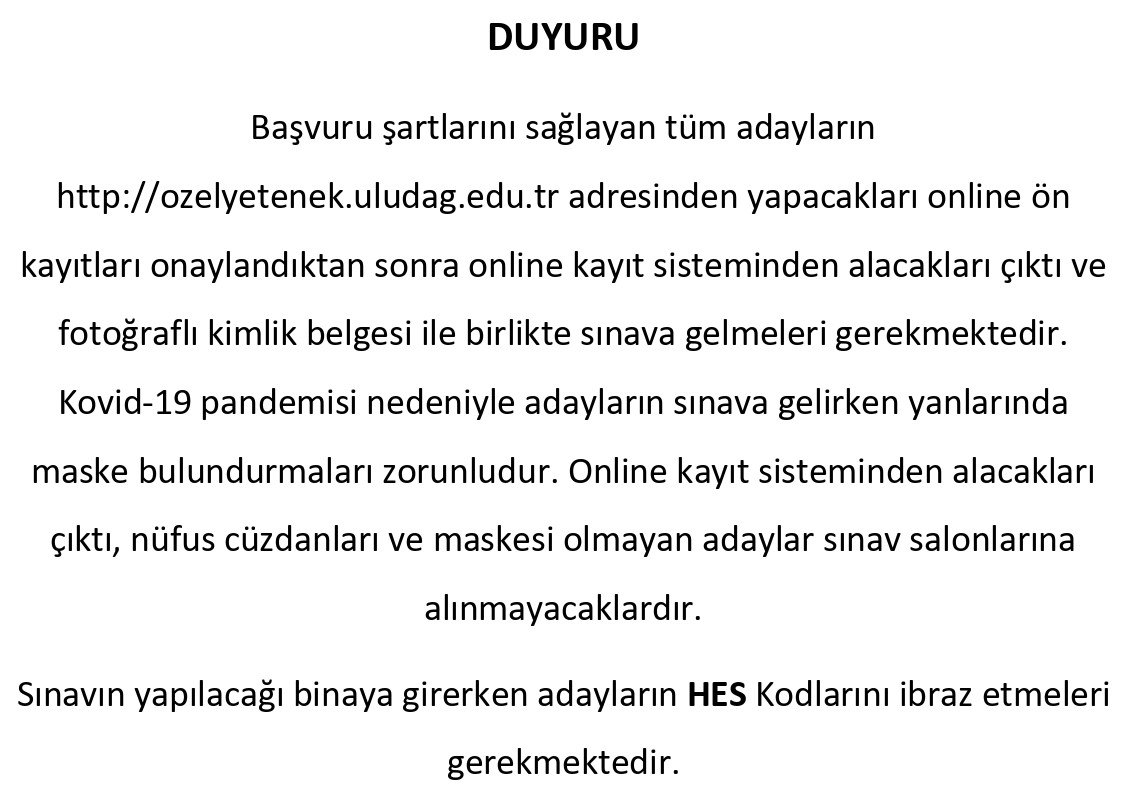 Resim Bölümü Özel Yetenek Sınavına Girecek Adayların Salon Bilgileri !!!