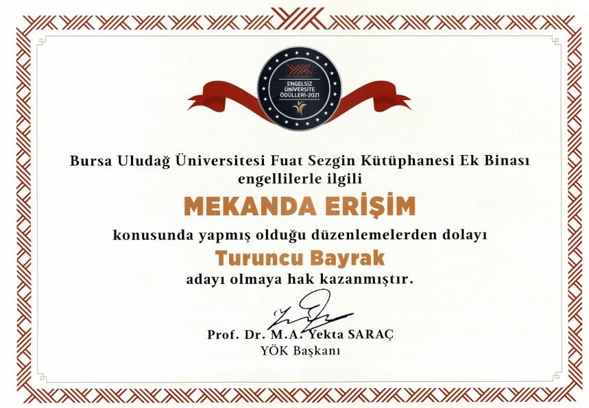 BUÜ Prof. Dr. Fuat Sezgin Merkez Kütüphanesi, Engelsiz Üniversite Ödülleri'nde Turuncu Bayrak'a aday oldu