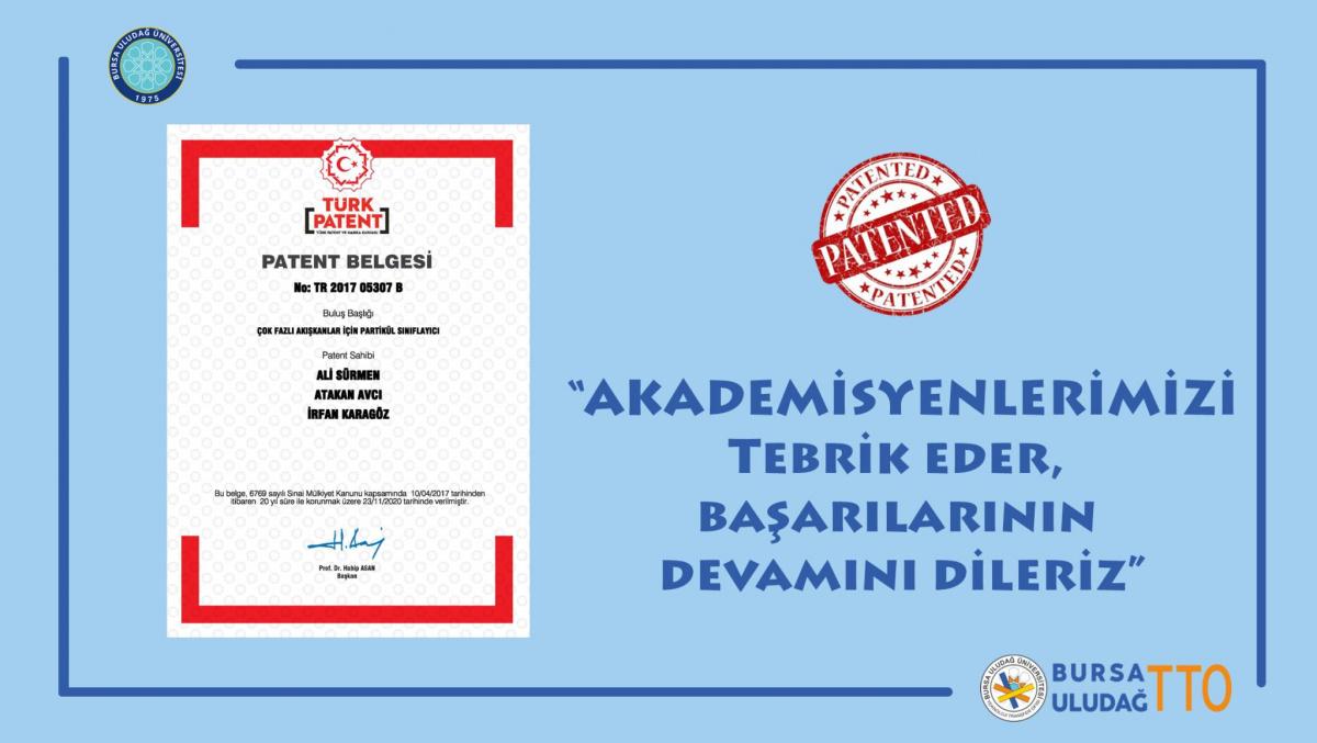 Bölümümüz Öğretim Üyelerinin Patent Tescil Başarısı