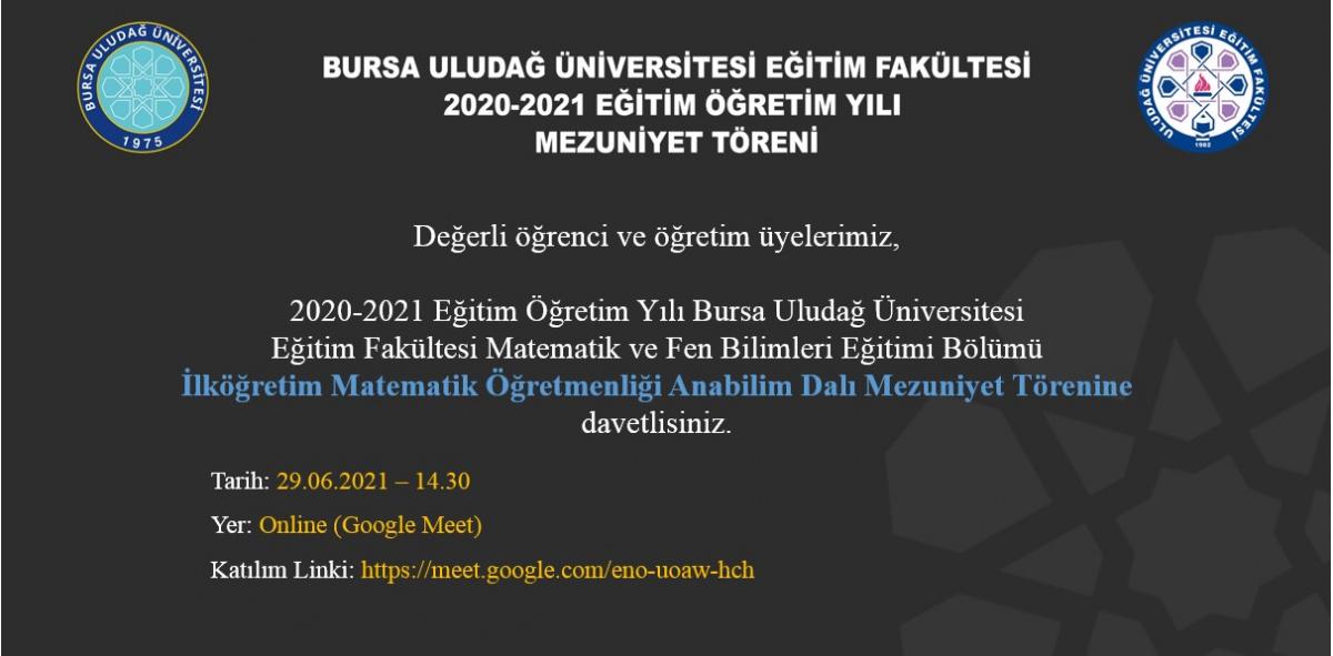 2020-2021 Mezuniyet Törenimize tüm Öğrencilerimiz davetlidir