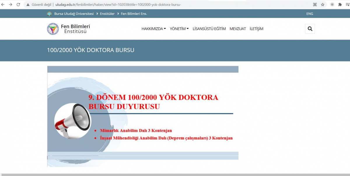 9. DÖNEM 100/2000 YÖK DOKTORA BURSU DUYURUSU