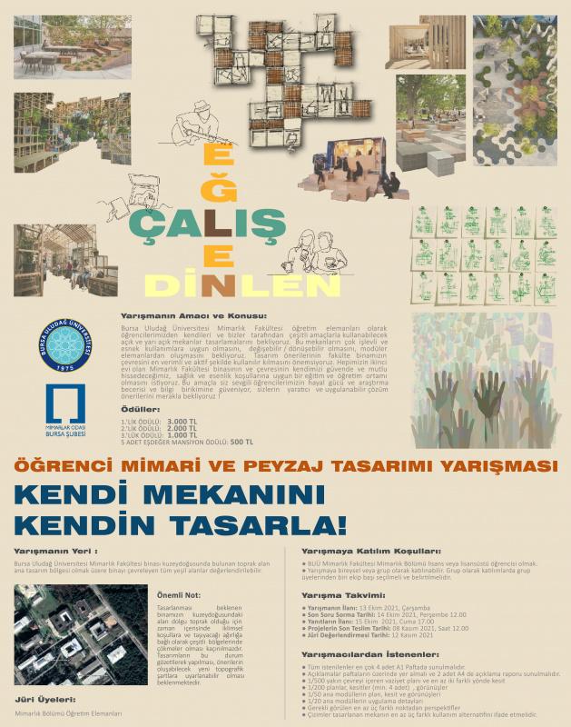 Öğrenci Mimari ve Peyzaj Tasarım Yarışması - KENDİ MEKANINI KENDİN TASARLA!