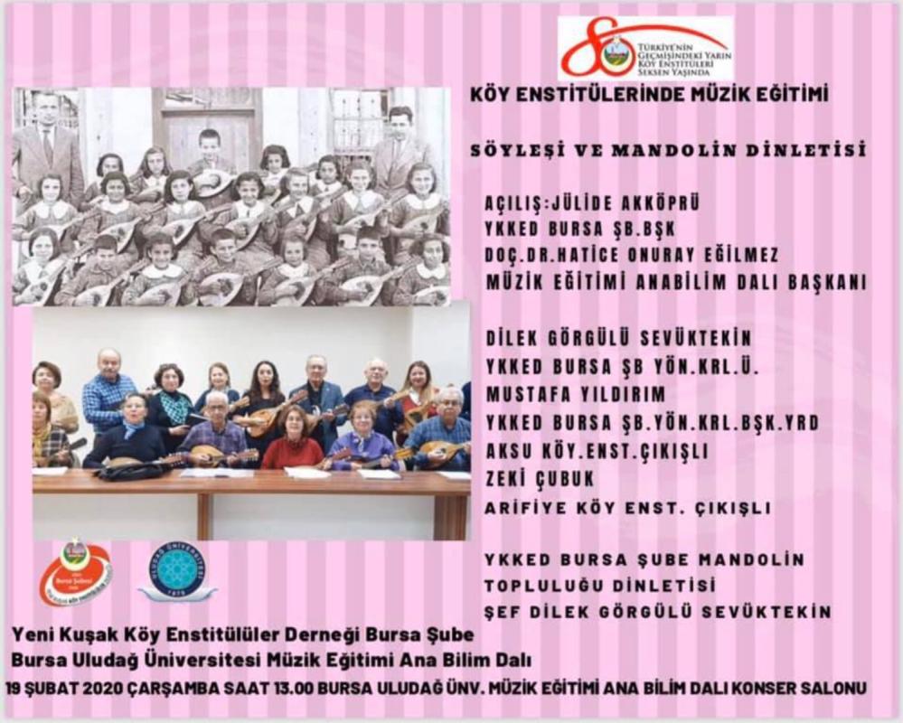 Köy Enstitülerinde Müzik Eğitimi Söyleşi ve Mandolin Dinletisi 19 Şubat 2020