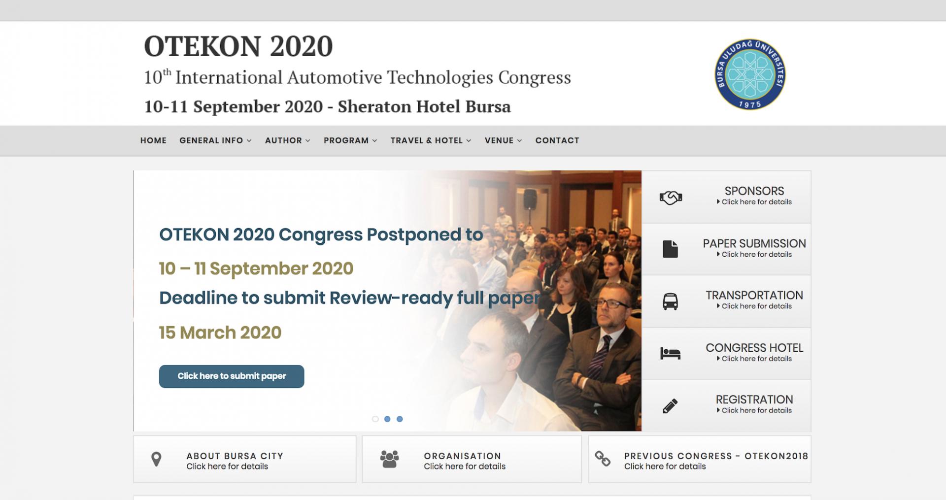 OTEKON 2020 Kongresi 10-11 Eylül 2020 de Bursa' da yapılacaktır