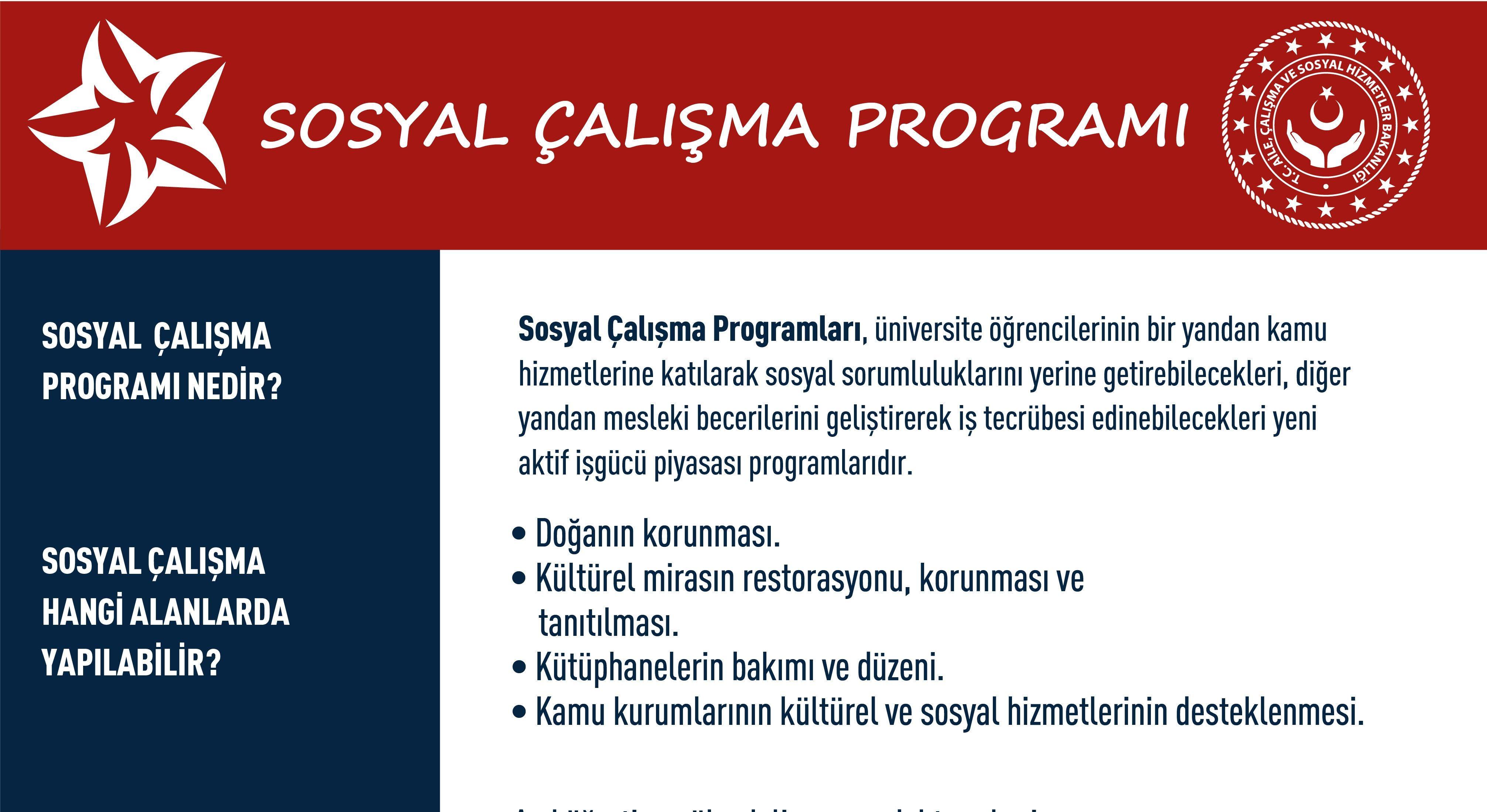 Sosyal Çalışma Programı'na başvurular açıldı