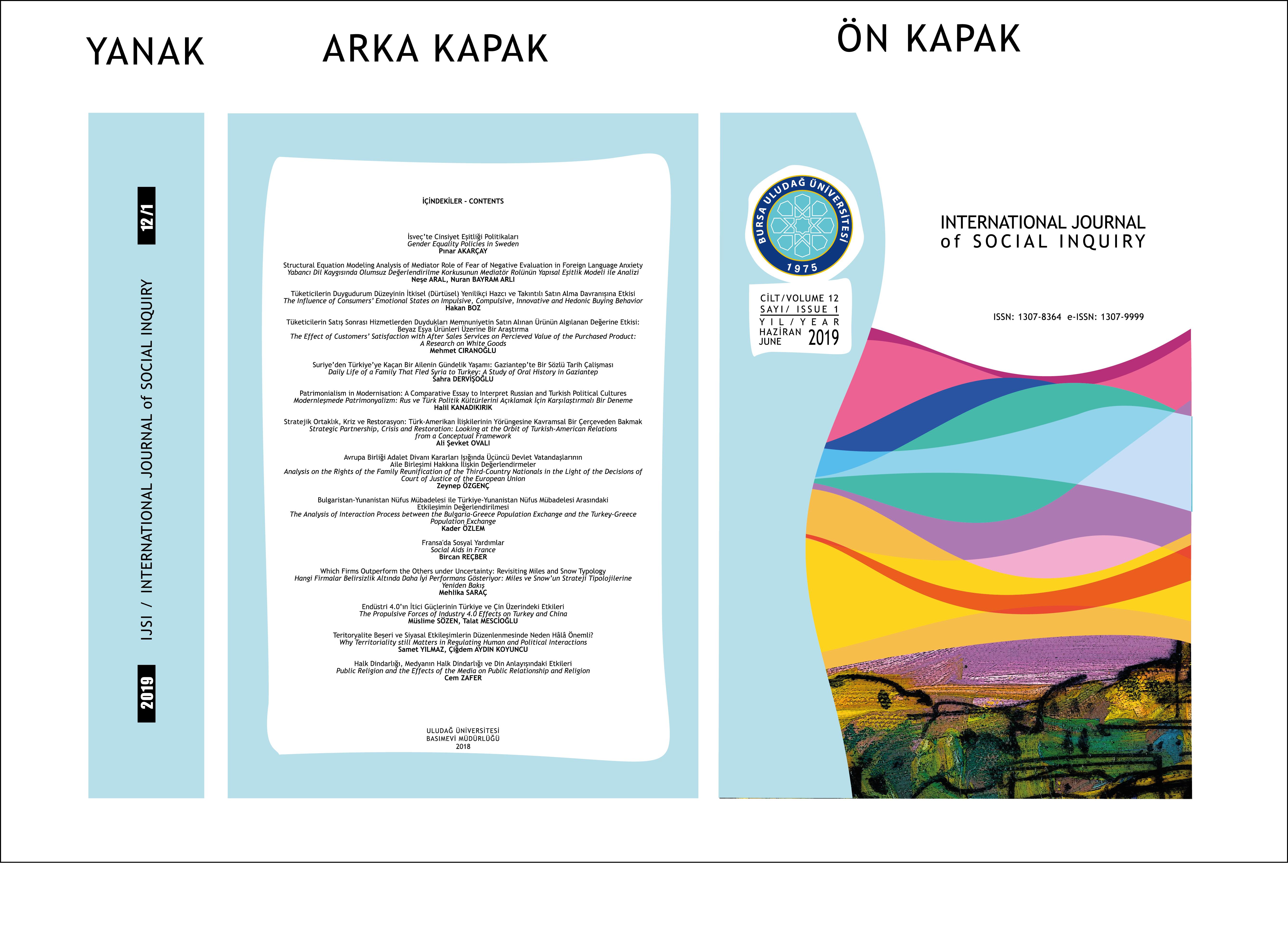 Sosyal Bilimler Enstitüsü Dergimizin Yeni Sayısı (12/1) Çıkmıştır.