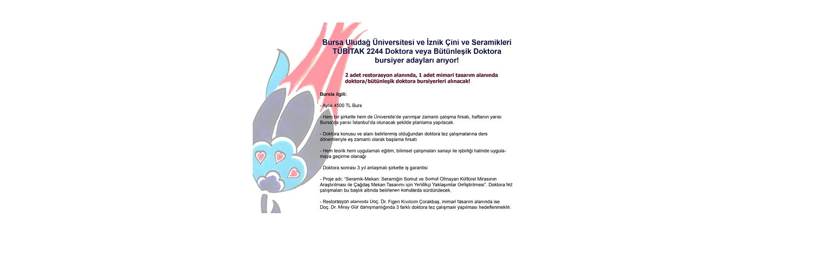 MİMARLIK DOKTORA ÖĞRENCİ BURSU / 4500 TL/ay