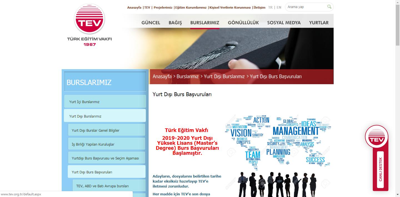 Türk Eğitim Vakfı   2019-2020 Yurt Dışı Yüksek Lisans Burs Başvuruları Başlamıştır.