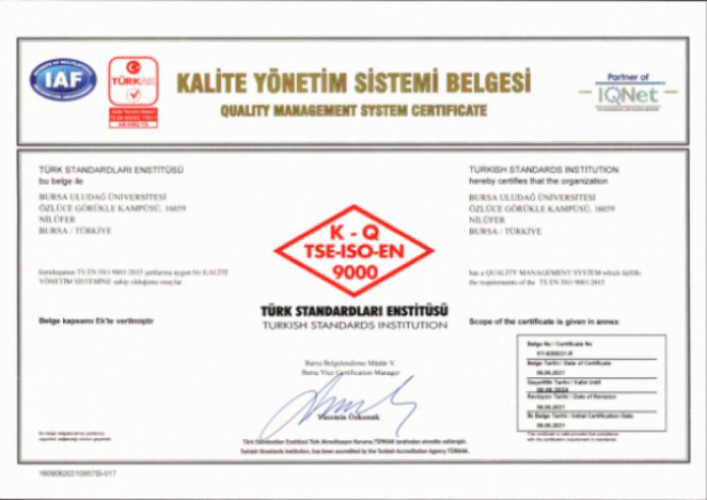 TS EN ISO 9001:2015 KALİTE YÖNETİM SİSTEMİ BELGESİNİ ALDIK