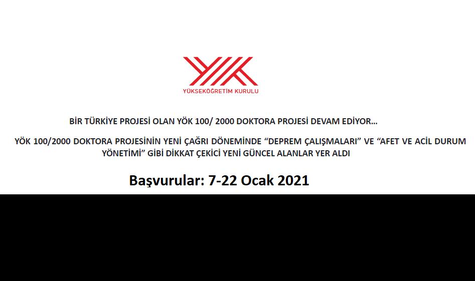 YÖK 100/2000 Doktora Bursu 2020-2021 Eğitim Öğretim Yılı Bahar Dönemi (9. Çağrı) Başvuruları