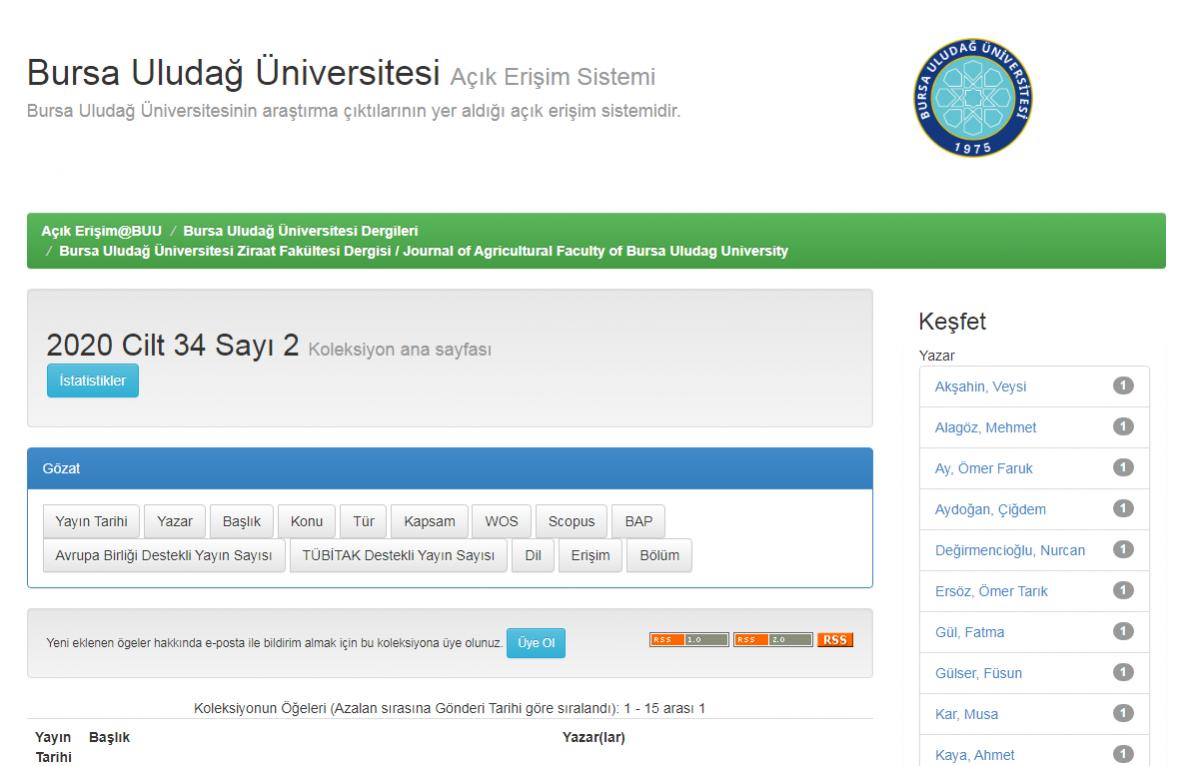 Uludağ Üniversitesi Ziraat Fakültesi Dergisinin Tüm Sayıları Açık Erişim Sisteminde